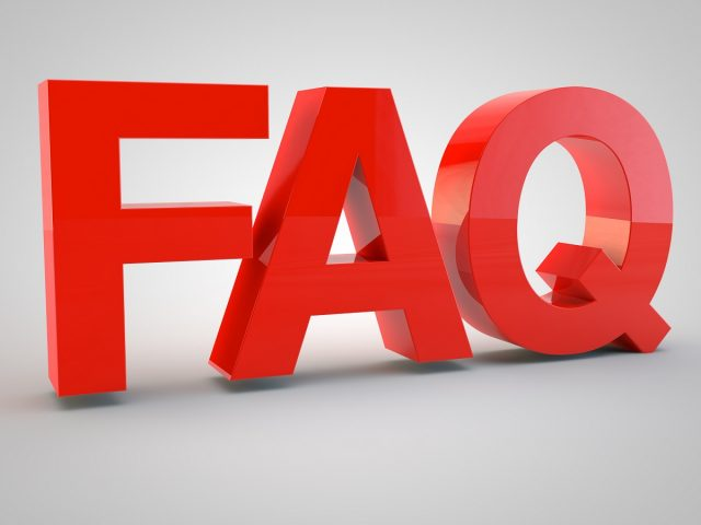 3d FAQ letters on white background