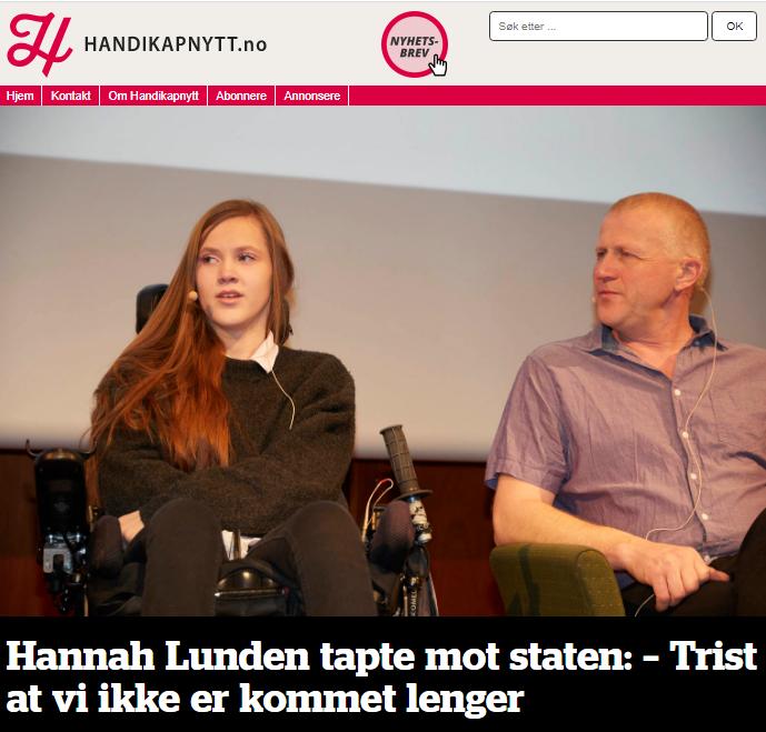 Faksimile fra Handikapnytt.no. Bilde av Hannah og faren med teksten Hannah Lunden tapte mot staten - trist at v iikke er kommet lenger.
