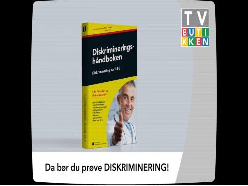 """Bilde av en """"bok"""". som heter diskrimineringshåndboken, i en TV-monitor som det står TV-butikken på. Nederst i bildet står det: Du bør prøve DISKRIMINERING!"""