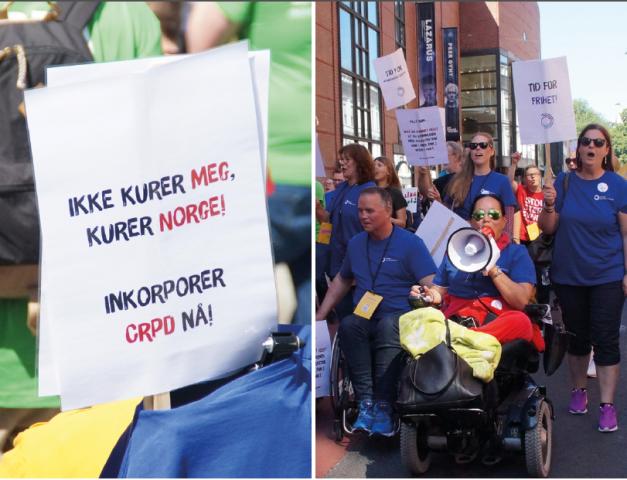 Bilder fra stolthetsparaden i 2019. Et med plakat der det står Ikke kurer meg, kurer Norge - inkorporer CRPD nå! og et med flere mennesker som går og ruller o paradetoget.